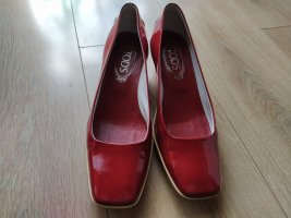 Tod's T-Strap Pumps raspberry-red leather