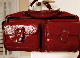 Lanvin Bowling Bag dark red leather