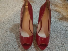 BCBGeneration Peep Toe Pumps brick red leather