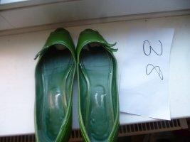Peep Toe Ballerinas green leather