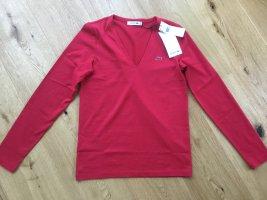 Lacoste V-hals shirt baksteenrood Katoen