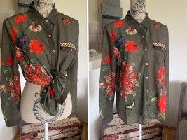 Lady Blusen-Hemd/Shirt - Khaki/Red - Größe S/M 34/36 - Bestickt