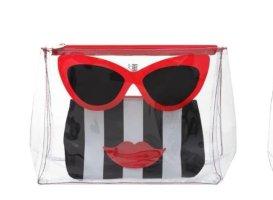 Lässige Marilyn 2 in 1 Schmink-/Kulturtasche von Emma Lomax mit cooler Brille