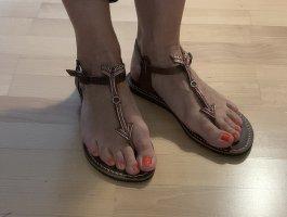 laidbacklondon Toe-Post sandals dark brown-neon red