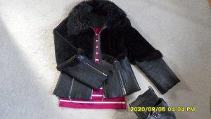 Veste en fourrure noir laine angora