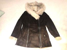 Hollert Fur Jacket dark brown-white leather