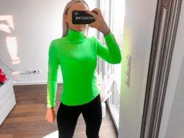 Camisa de cuello de tortuga verde neón Poliéster