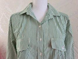 Langarm Hemd Bluse grün weiß gestreift Gr. 44
