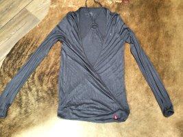Langarm Neckholder Wickel– T–Shirt in Grau von EDC