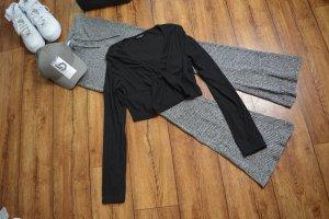 Langarm Rippen Cropped Shirt schwarz 38 Shein