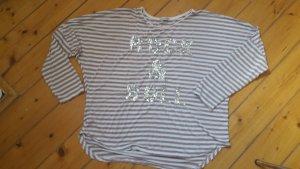 T-shirt rayé blanc-vieux rose