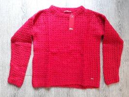 Langarm Strick Pullover Pulli rot Sweatshirt Waffel-Muster, S. Oliver Gr. S, Neu