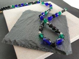 Boutique Ware Collier incrusté de pierres bleu foncé-vert forêt