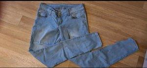one love Spodnie rurki błękitny