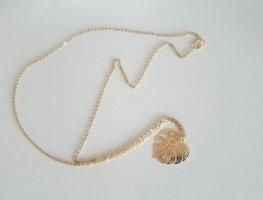 Lange Kette aus 18k Gold mit Blatt-Anhänger (Handgemacht)