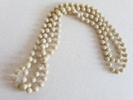 Retro Kette Collier de perles beige clair