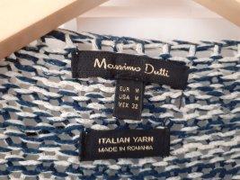 Massimo Dutti Cardigan a maglia grossa beige chiaro-blu acciaio