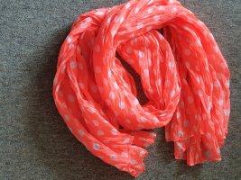Écharpe d'été orange fluo-blanc