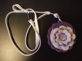 Handmade Key Chain natural white-lilac cotton
