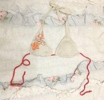 Lascana oder s.Oliver Bikini Top Oberteil weiß Blumen Gr S