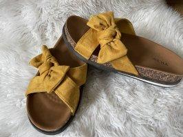 Sandales confort orange doré