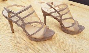 Laura Biagiotti High Heel Sanadeltten taupe nude heels !NEU!