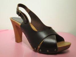 Laura Scott Platform High-Heeled Sandal brown-camel leather