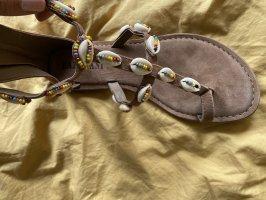 Lazamani Sandalo toe-post beige-marrone chiaro Pelle