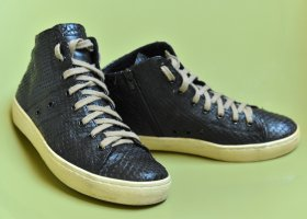 LEATHER CROWN 37 Python Leder High Top Sneakers OVP Plateau Wedge Schwarz