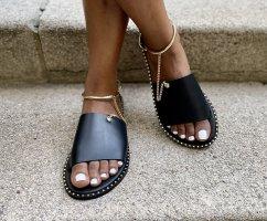 Comfortabele sandalen zwart-brons Leer