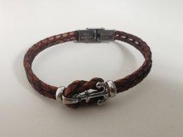 Ancora Bracelet en cuir argenté-brun