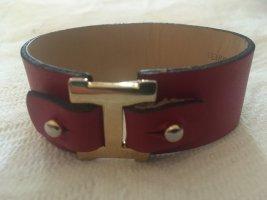 Made in Italy Bracelet en cuir rouge foncé-doré