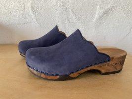 Sandalias con tacón azul Cuero
