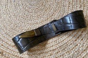 Cinturón de cuero negro-ocre