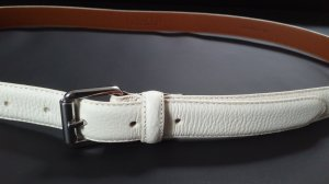 Ralph Lauren Leather Belt white-silver-colored