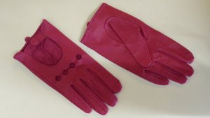 Leather Gloves magenta-pink leather