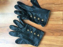 Leren handschoenen zwart-taupe Leer