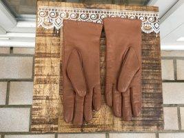 Leren handschoenen camel-bruin