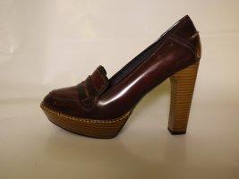 Leder High Heel Bordeaux rot