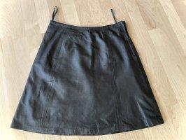 Leder-Minirock schwarz, A-Form