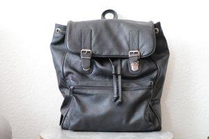 echtes leder School Backpack black leather