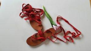 Mango Sandalo toe-post salmone-rosso chiaro Pelle