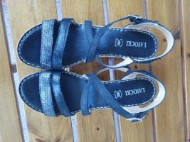 Sandales à lanière gris clair-noir