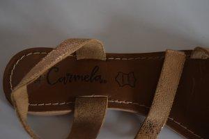 Sandalias de playa coñac-color bronce Cuero