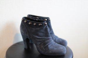 Laarzen met hak donkerblauw Leer
