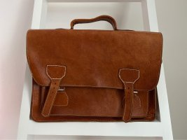 Briefcase cognac-coloured-brown leather