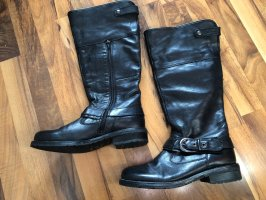 Bama Winter Boots black-natural white leather