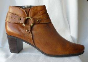 Leder Stiefelette / Ankle Boots cognacfarben