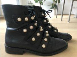 Leder Stiefelette Gr. 37 schwarz mit Perlen