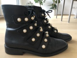 Zara Lace-up Booties black-cream